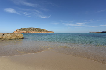Cala comte beach in Ibiza island