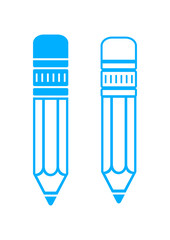 Blue pencil icons on white background