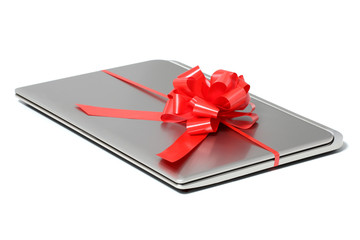 Laptop gift with a red ribbon