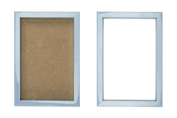 blue plastic picture frame with and without fiberboard backgroun