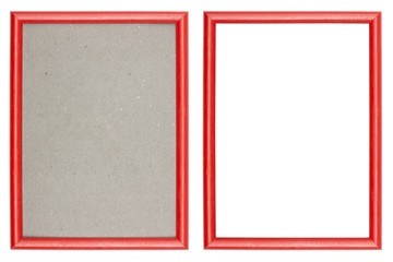 red plastic picture frame with and without gray cardboard backgr