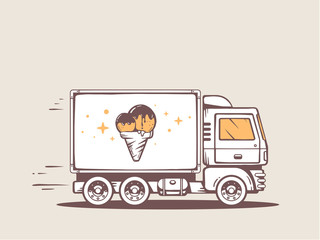Vector illustration of truck free and fast delivering ice cream