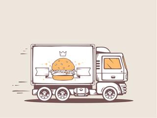 Vector illustration of truck free and fast delivering big burger