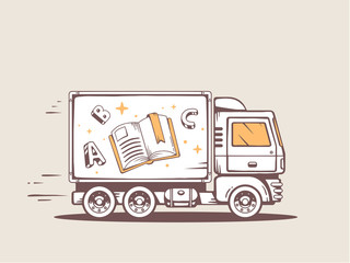 Vector illustration of truck free and fast delivering book to cu