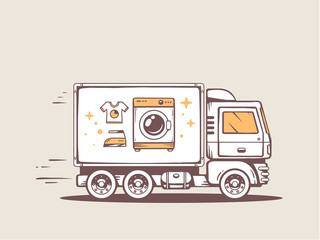 Vector illustration of truck free and fast delivering washing ma