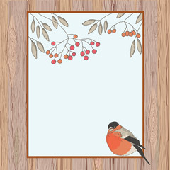 Rowan and bullfinch in a frame