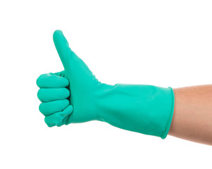 Blue glove for cleaning