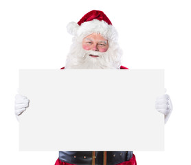 Santa Claus holding blank sign