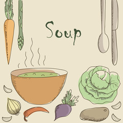 Vegetarian soup and vegetables.