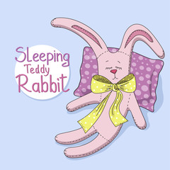 The teddy rabbit sleeps. Vector illustration.