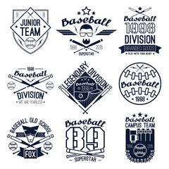 College baseball team emblems