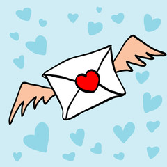Letter with a heart shape's stamp and wings