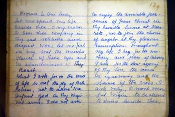 Hand written prayer book of Mother Teresa, written in 1949
