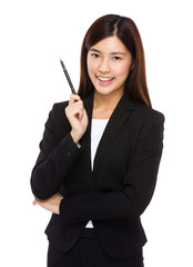 Businesswoman hold with pen