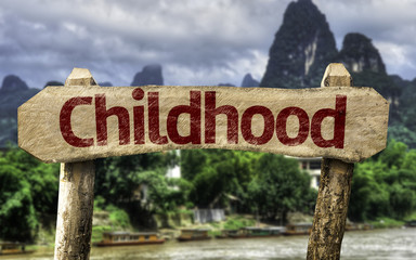 Childhood sign with a forest background