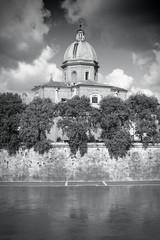 Rome church - black and white monochrome style