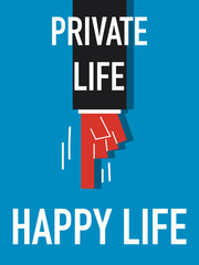Word PRIVATE LIFE HAPPY LIFE vector illustration