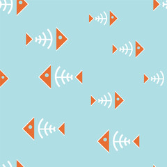 Seamless background with fish bone