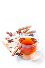 Tea with spices - cinnamon, a carnation and  anise
