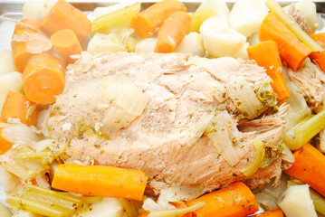 Close Up of a Cooked Pork Roast and Veggies