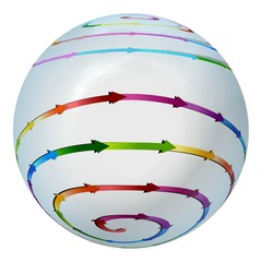 Shiny ball with colored connected arrows around