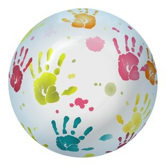 Various colored handprints mapped on white ball
