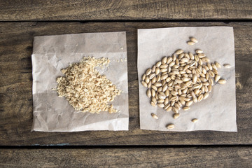 raw soy flakes and wheat