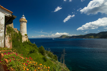 The lighthouse on the harbour of Portoferraio, Elba