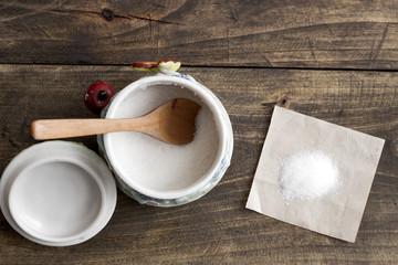 white sugar in  bowl