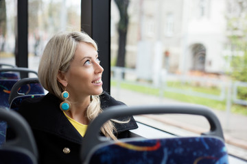 Woman traveling in public transport