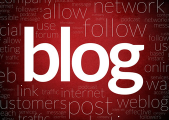 Red Background Blog concept in word tag cloud