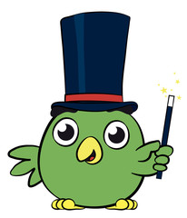 Adorable little bird magician cartoon character