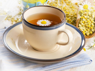 Tea cup  with chamomile flowers.