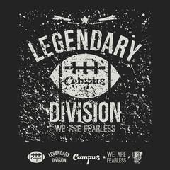 Legendary division rugby emblem and badges