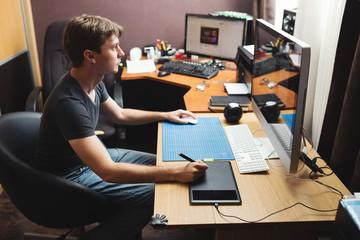 Freelance developer or designer working at home