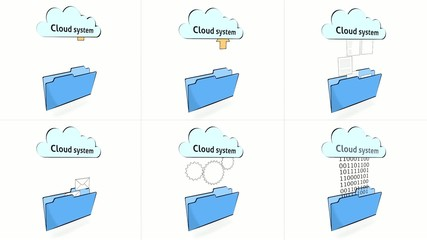 series of animated icon, cartoon style,  folder and cloud system