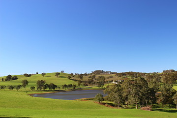 Adelaide hills with wine orchad and lake