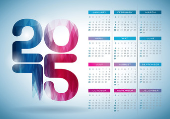 Vector Calendar 2015 illustration with abstract color design