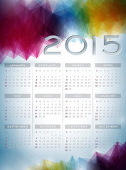 Vector Calendar 2015 illustration on abstract color background.