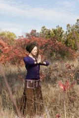 Young woman yogi practicing