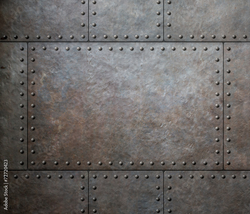 Leinwanddruck Bild metal texture with rivets as steam punk background or texture