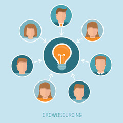 Vector crowdsourcing concept in flat style