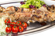kebab meat sauce and salad vegetables