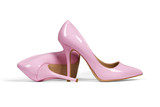 Pink women's heel shoes isolated with clipping path.