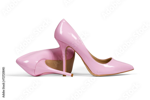 Leinwanddruck Bild Pink women's heel shoes isolated with clipping path.