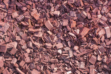 Background from small red pieces of wood