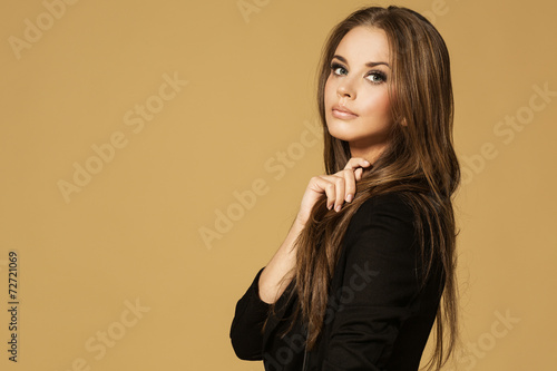 Portrait of wonderful young blonde woman with long hair