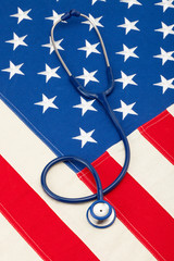 Medical stethoscope over US flag - studio shoot