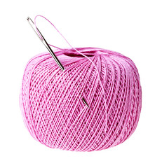 Pink thread ball and needle with thread isolated on white backgr