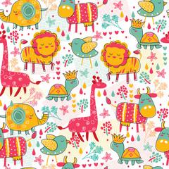 Wildlife seamless wallpaper illustration